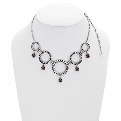 Kamon Statement Sterling Silver And Garnet Necklace - Cynthia Gale New York Jewelry