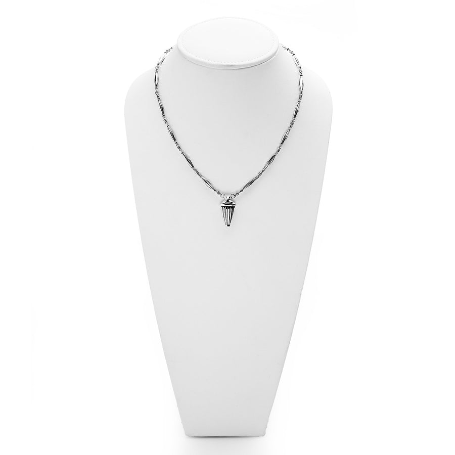 CG Signature Sterling Silver Repousse Petite Urn Necklace - Cynthia Gale New York Jewelry