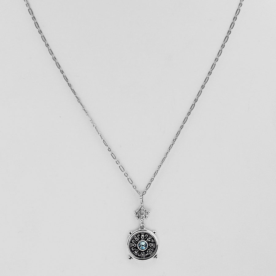 Dharmachakra Sterling Silver Blue Topaz Grace Necklace - Cynthia Gale New York