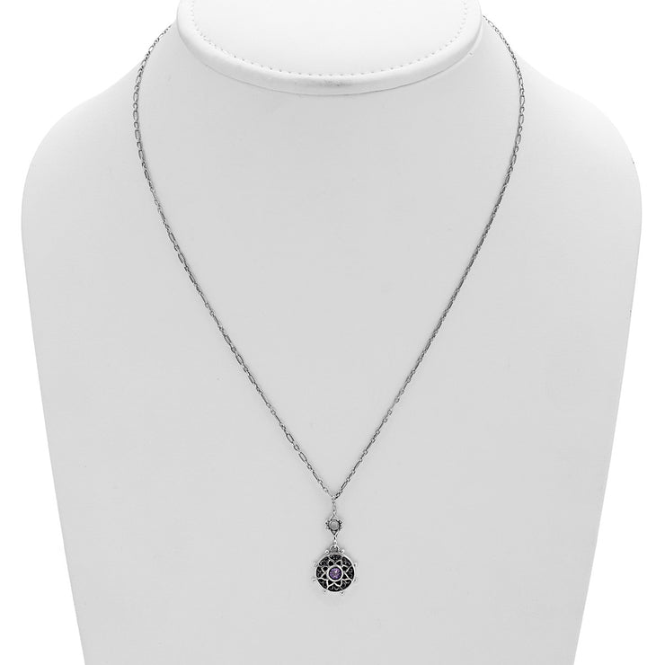 Dharmachakra Sterling Silver Amethyst Serenity Necklace - Cynthia Gale New York Jewelry