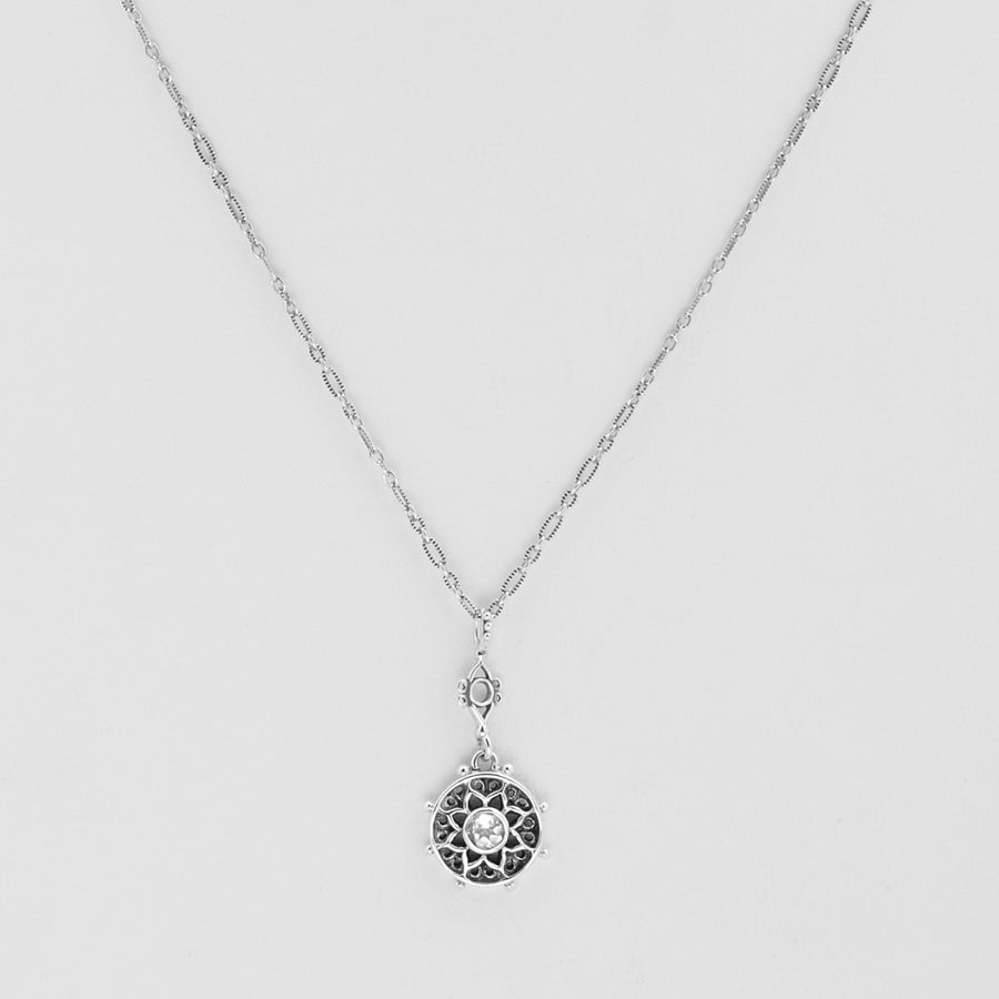 Dharmachakra Sterling Silver White Topaz Serenity Necklace - Cynthia Gale New York Jewelry
