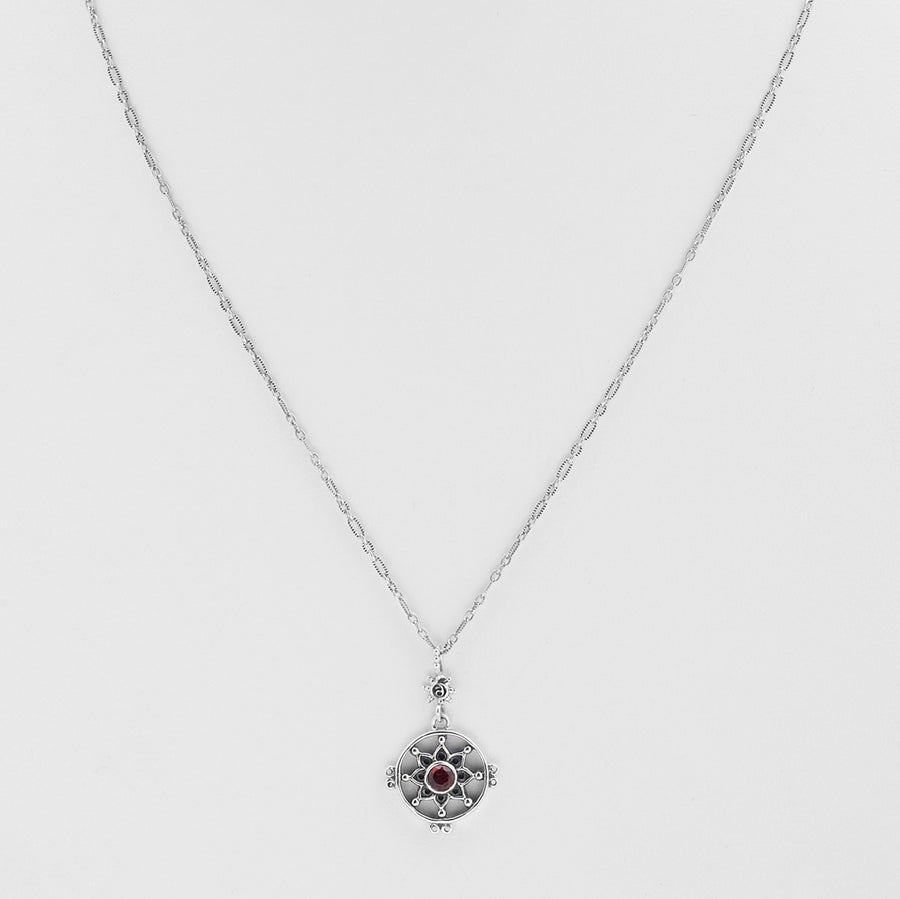 Dharmachakra Sterling Silver Garnet Love Necklace - Cynthia Gale New York Jewelry