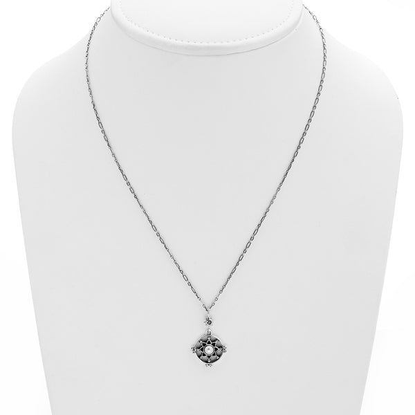Dharmachakra Sterling Silver White Pearl Love Necklace - Cynthia Gale New York Jewelry
