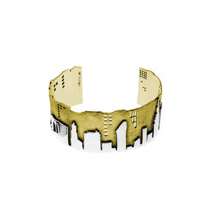 NYC Skyline The City That never Sleeps Sterling Silver & Brass Cuff - Cynthia Gale New York - 2
