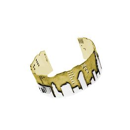 NYC Skyline The City That never Sleeps Sterling Silver & Brass Cuff - Cynthia Gale New York - 1