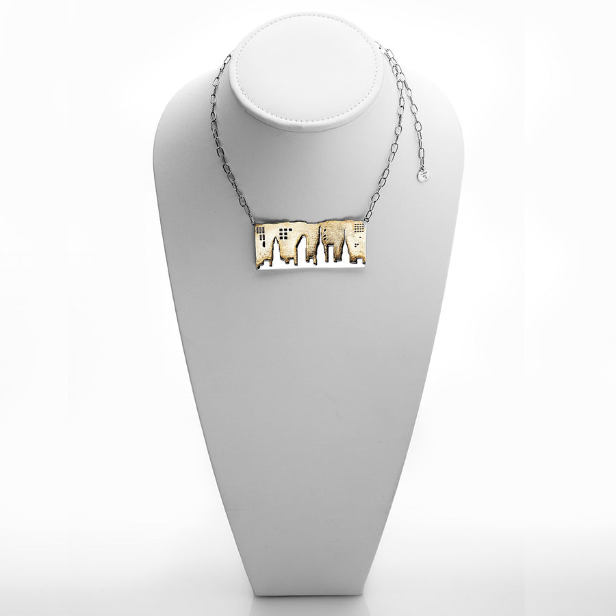 NYC Skyline The City That Never Sleeps Sterling Silver Brass Necklace - Cynthia Gale New York - 1