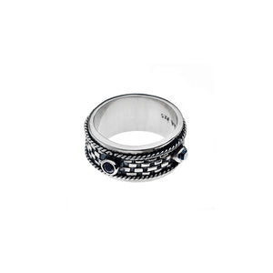 Sumatra Sterling Silver And Garnet Spin Ring - Cynthia Gale New York Jewelry