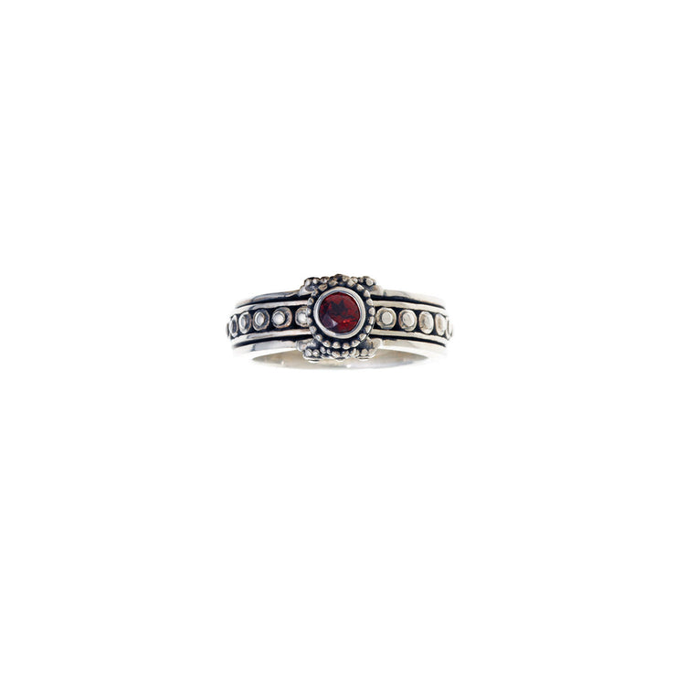 Vintage Classical Sterling Silver And Garnet Spin Ring - Cynthia Gale New York - 3