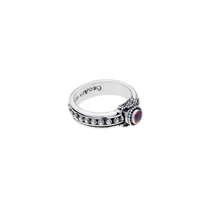 Vintage Classical Sterling Silver And Garnet Spin Ring - Cynthia Gale New York - 2