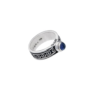 Pop Art Sterling Silver And Iolite Spin Ring - Cynthia Gale New York Jewelry