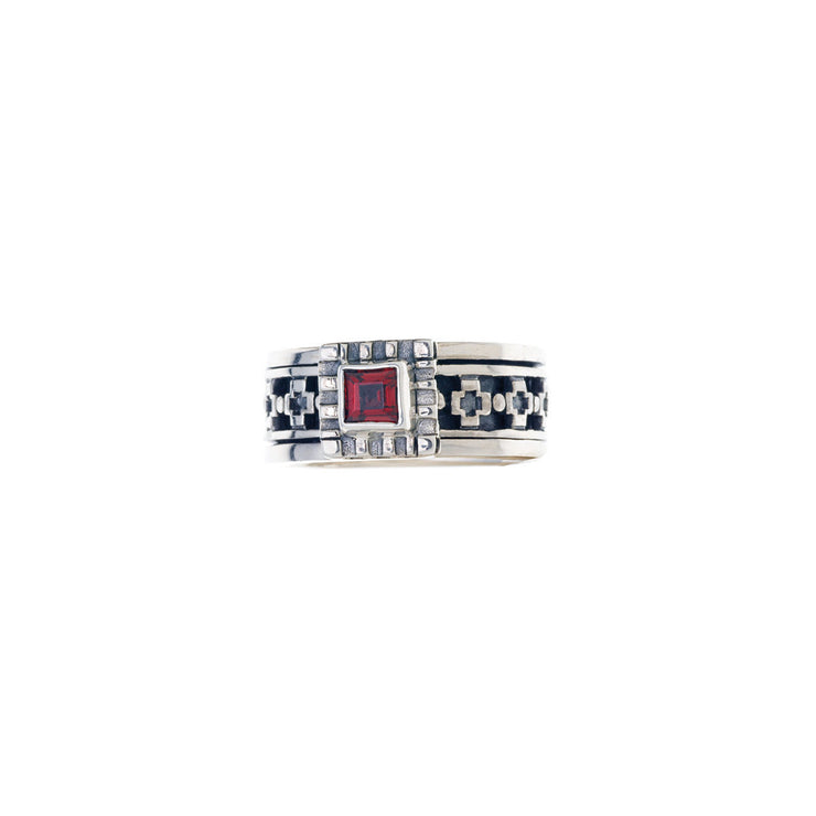 Baroque Sterling Silver And Garnet Spin Ring - Cynthia Gale New York - 3