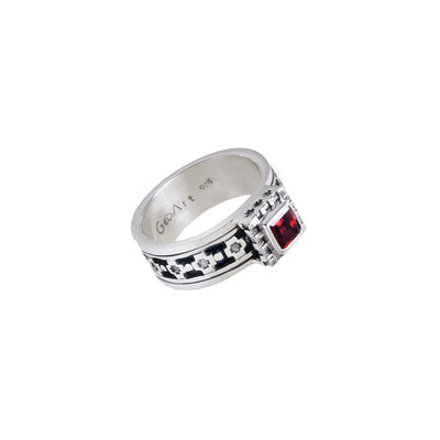 Baroque Sterling Silver And Garnet Spin Ring - Cynthia Gale New York - 1