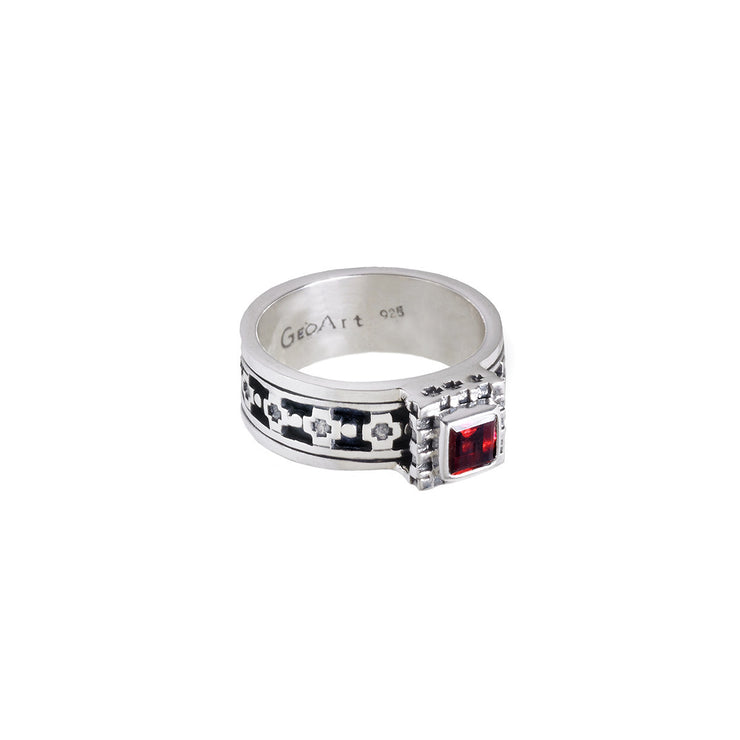 Baroque Sterling Silver And Garnet Spin Ring - Cynthia Gale New York - 2