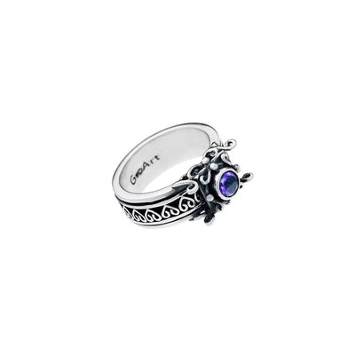 Art Nouveau Sterling Silver And Amethyst Spin Ring - Cynthia Gale New York Jewelry