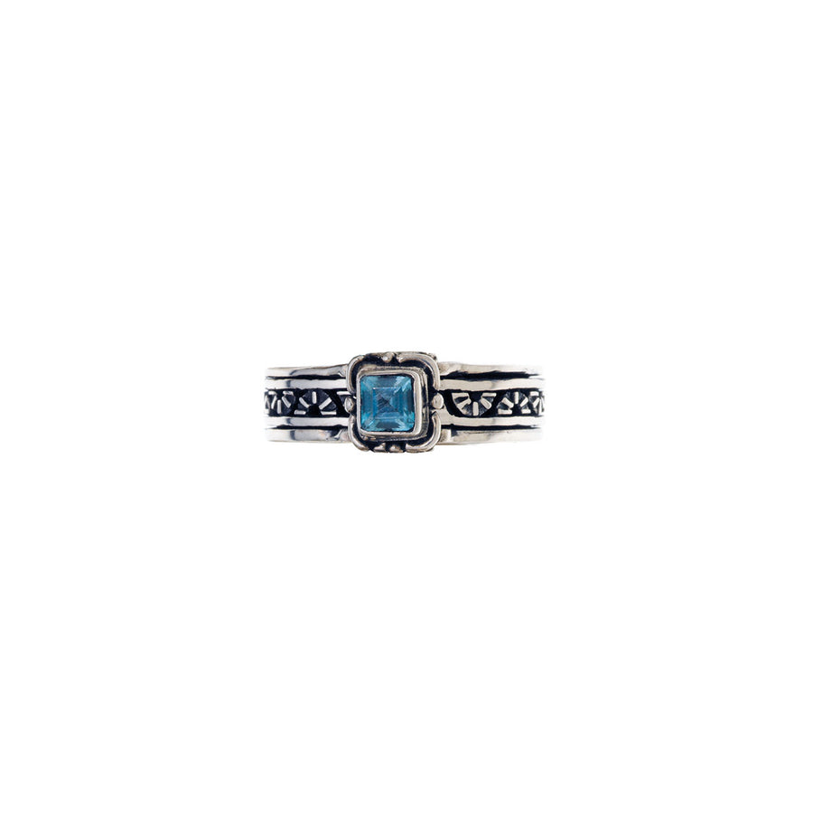 Victorian Sterling Silver And Blue Topaz Spin Ring - Cynthia Gale New York Jewelry