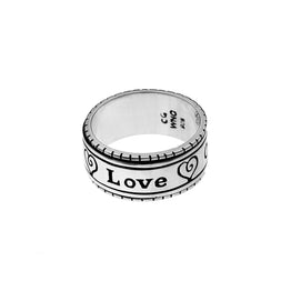 Love One Another Sterling Silver Spin Ring - Cynthia Gale New York Jewelry