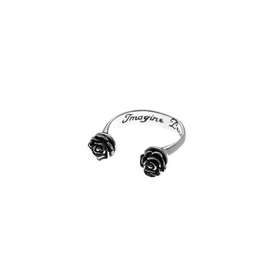 Imagine Peace Rose Etched Sterling Silver Ring - Cynthia Gale New York Jewelry
