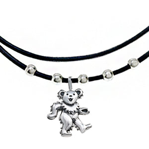 Dancing Bear Sterling Silver Beads & Thin Leather Necklace