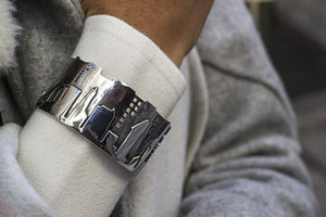 NYC Skyline The City That Never Sleeps Sterling Silver Bracelet Cuff - Cynthia Gale New York - 3