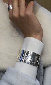NYC Skyline The City That Never Sleeps Sterling Silver Bracelet Cuff - Cynthia Gale New York - 4