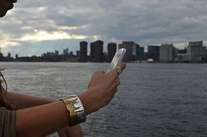 NYC Skyline The City That never Sleeps Sterling Silver & Brass Cuff - Cynthia Gale New York - 3
