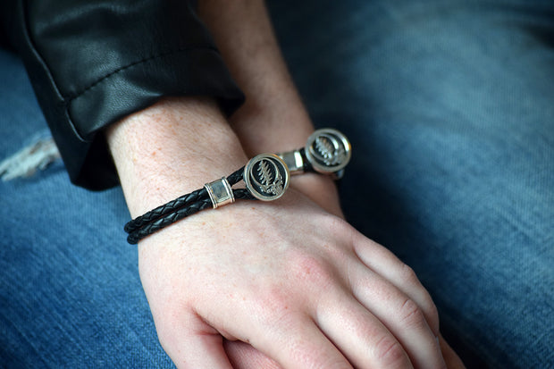 Steal Your Face Sterling Silver Leather Bracelet