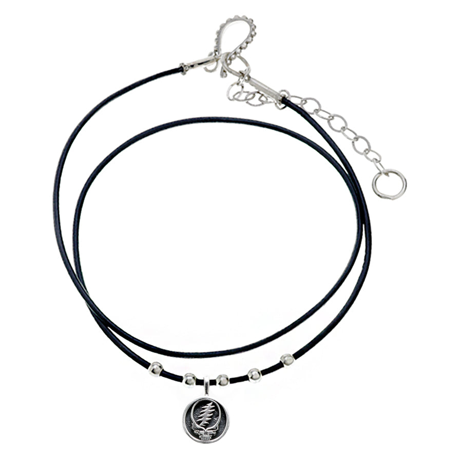 Steal Your Face Sterling Silver Beads & Thin Leather Necklace