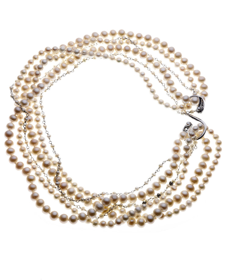 Artknots Madame Butterfly Sterling Silver White Pearl Necklace - Cynthia Gale New York Jewelry