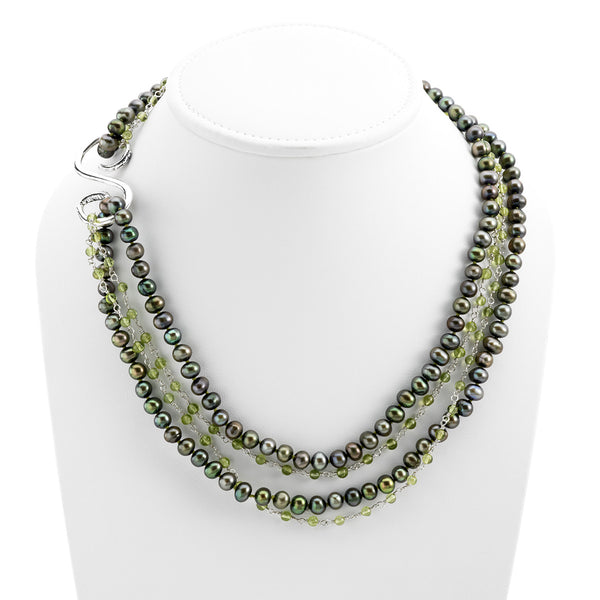 Artknots Carmen Sterling Silver Green Pearl Necklace - Cynthia Gale New York Jewelry
