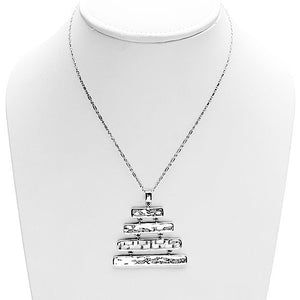 Mystical Pagoda Graduated Latticework Sterling Silver Necklace - Cynthia Gale New York Jewelry
