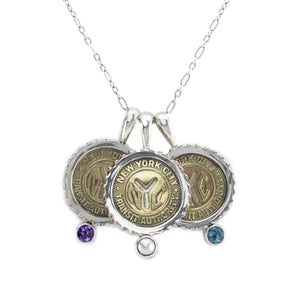 April NYC Authentic Subway Token White Topaz Sterling Silver Charm Necklace - Cynthia Gale New York - 2