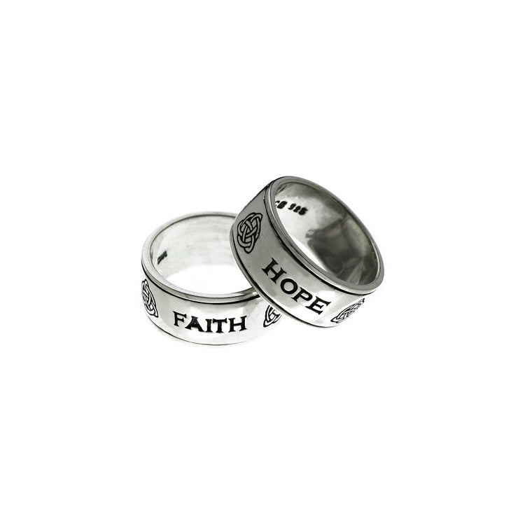 Love/Hope/Faith Sterling Silver Spinner Ring