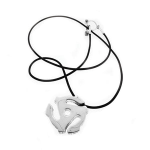 45 RPM Spacer Sterling Silver And Rubber Cord Necklace - Cynthia Gale New York - 1