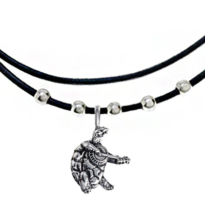 Terrapin Sterling Silver Beads & Thin Leather Necklace