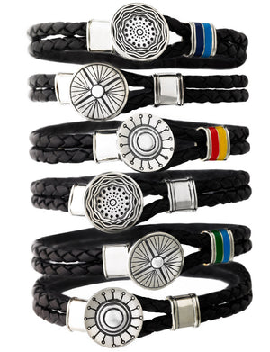 Face The Sun And The Shadow Will Fall Behind You Silver & Enamel Leather Bracelet - Cynthia Gale New York - 3