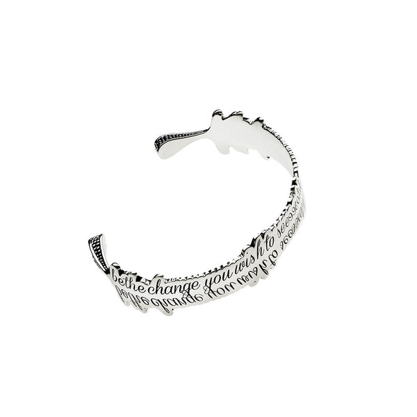 Be The Change You Wish to See Sterling Silver Cuff - Cynthia Gale New York Jewelry
