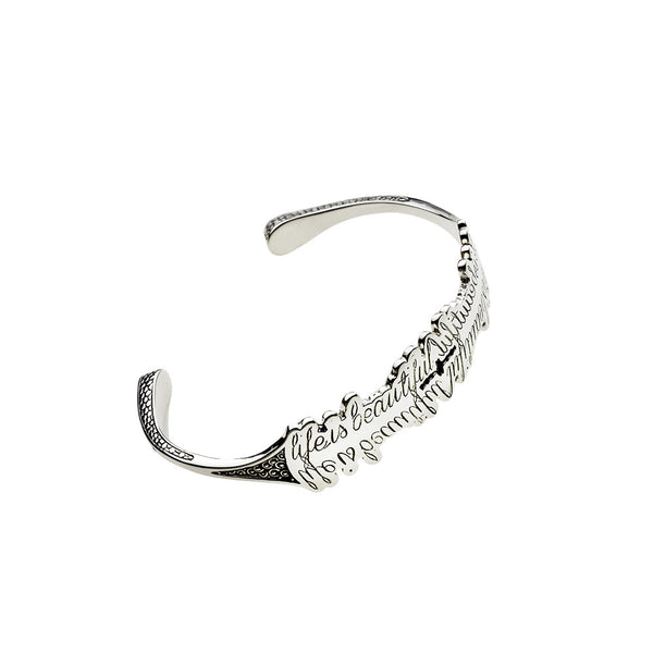 Life Is Beautiful Sterling Silver Cuff - Cynthia Gale New York Jewelry