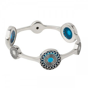 Ennion Sterling Silver & Glass Sapphire Statement Bangle