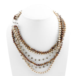 Artknots La Boheme Sterling Silver Brown Pearl Necklace - Cynthia Gale New York Jewelry