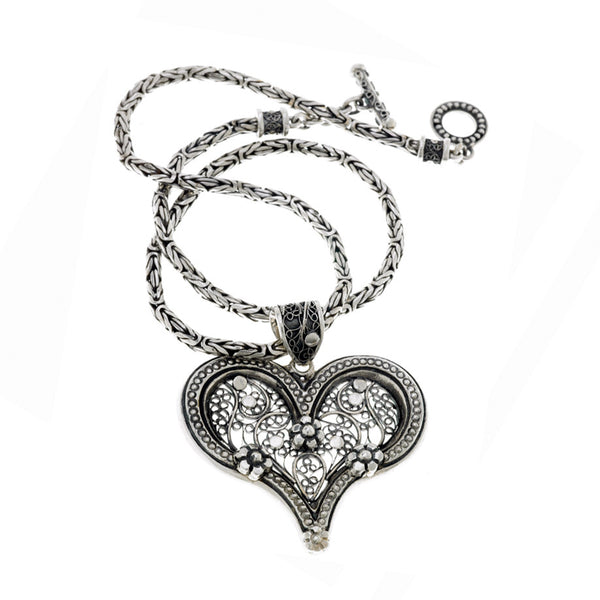 Floral Filigree Sterling Silver Heart Necklace - Cynthia Gale New York Jewelry