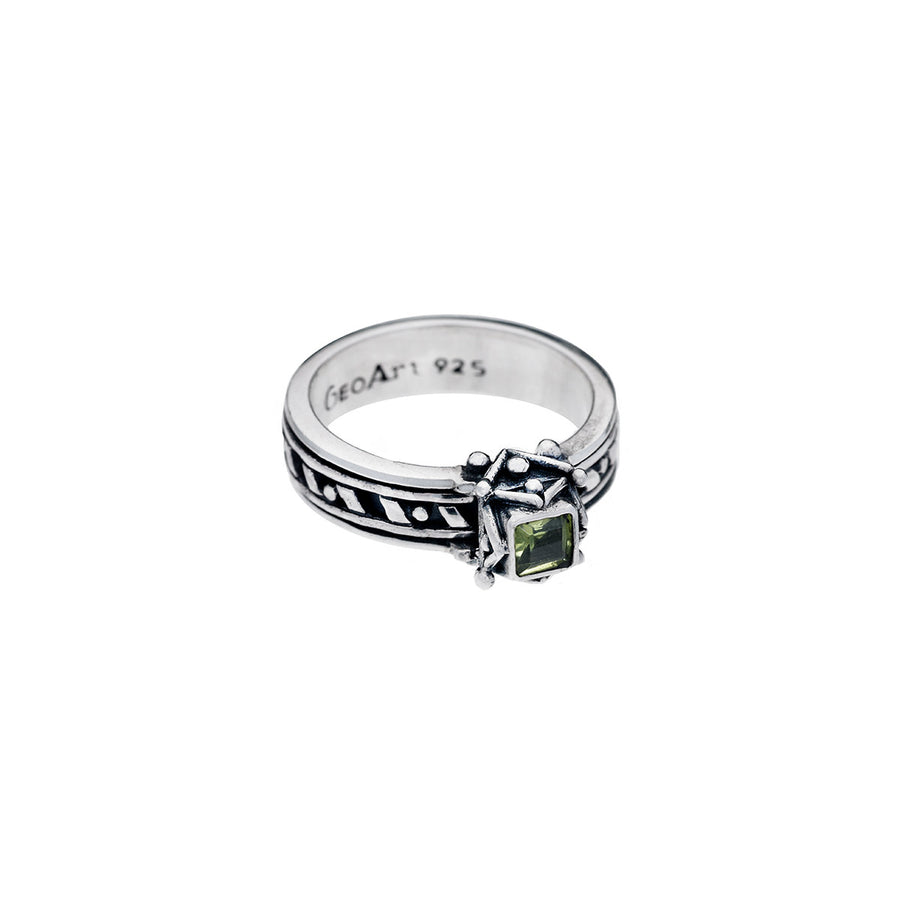 Art Deco Sterling Silver And Peridot Spin Ring - Cynthia Gale New York - 1