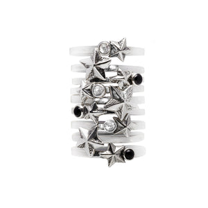 Rock Star Sterling Silver & White Topaz Stack Ring - Cynthia Gale New York - 3