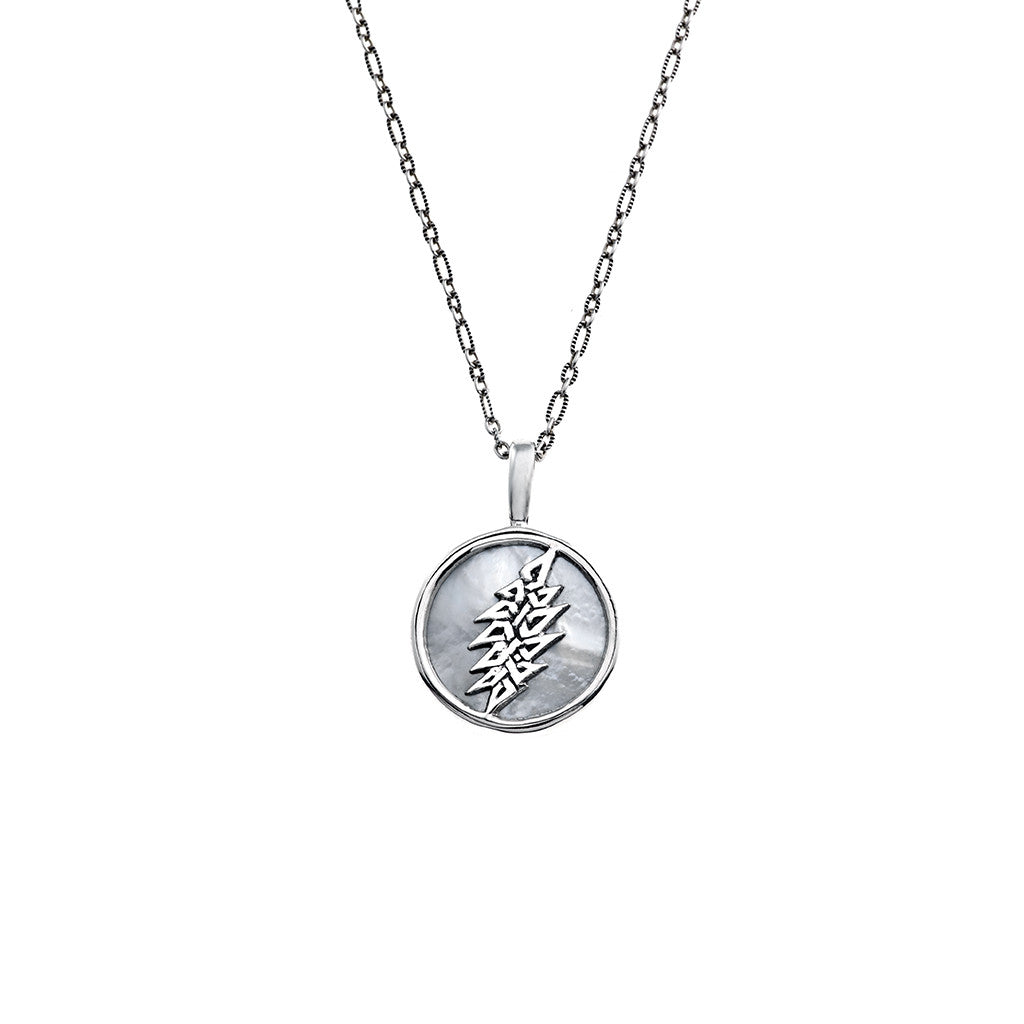 13 point lightning bolt sterling silver mother of pearl charm 13 point lightning bolt sterling silver mother of pearl charm necklace mozeypictures Image collections