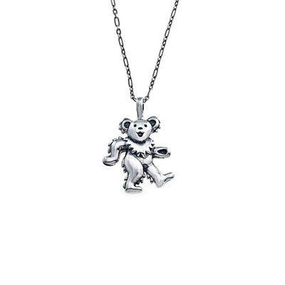 Dancing Bear Sterling Silver Charm Necklace