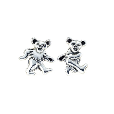 Dancing Bear Sterling Silver Post Earrings