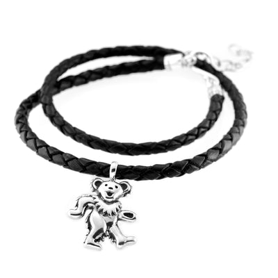 Dancing Bear Sterling Silver Charm Woven Leather Necklace