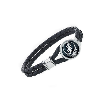 Steal Your Face Sterling Silver Leather Bracelet - Cynthia Gale New York - 1