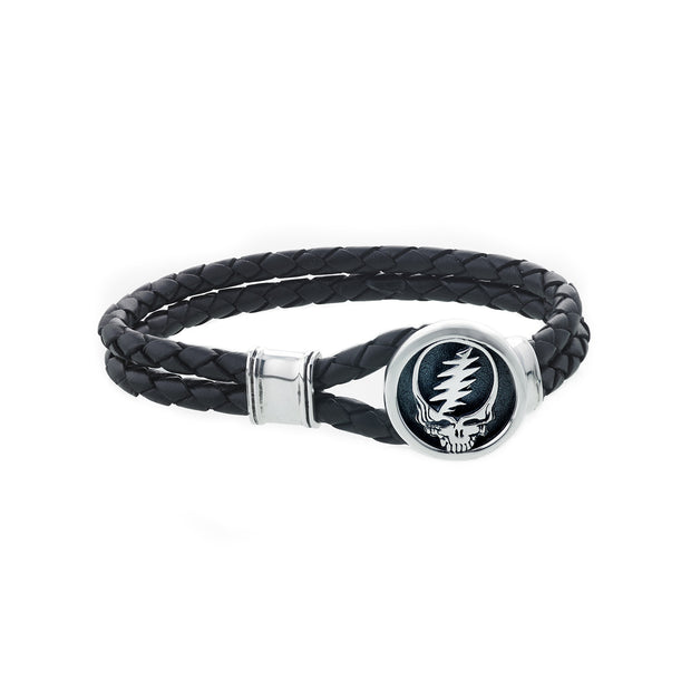Steal Your Face Sterling Silver Leather Bracelet - Cynthia Gale New York - 2