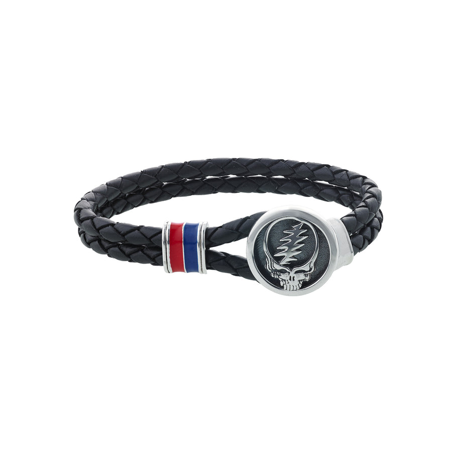 Steal Your Face Sterling Silver, Blue and Red Enamel & Leather Bracelet - Cynthia Gale New York - 1