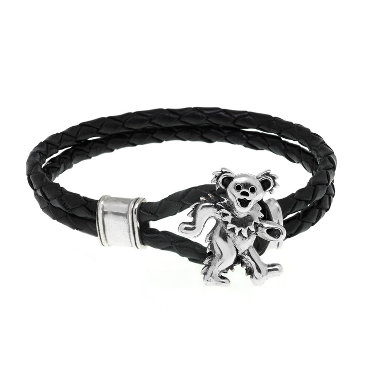 Dancing Bear Sterling Silver Leather Bracelet